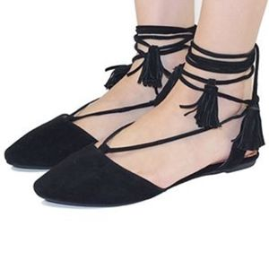 NEW 7.5 Jeffrey Campbell Amour Black Suede Flats